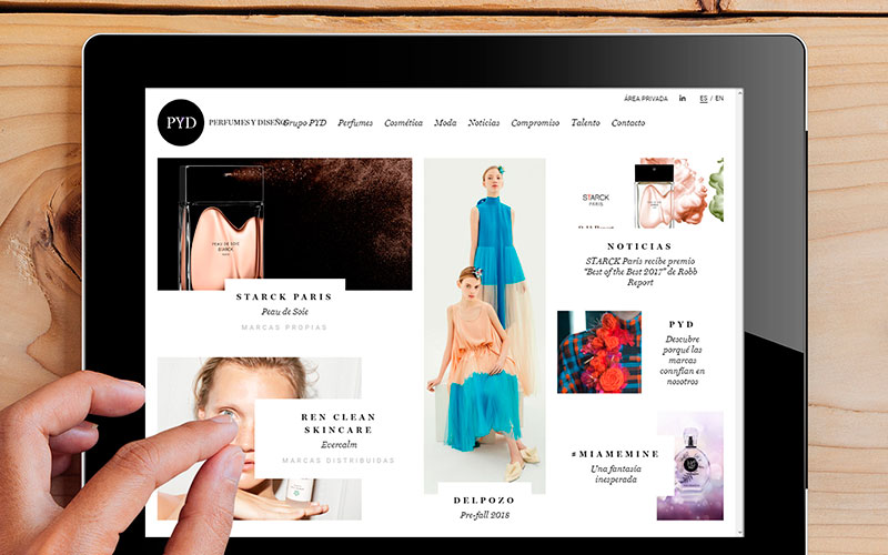 New corporate website for the 20th anniversary of Perfumes y Diseño