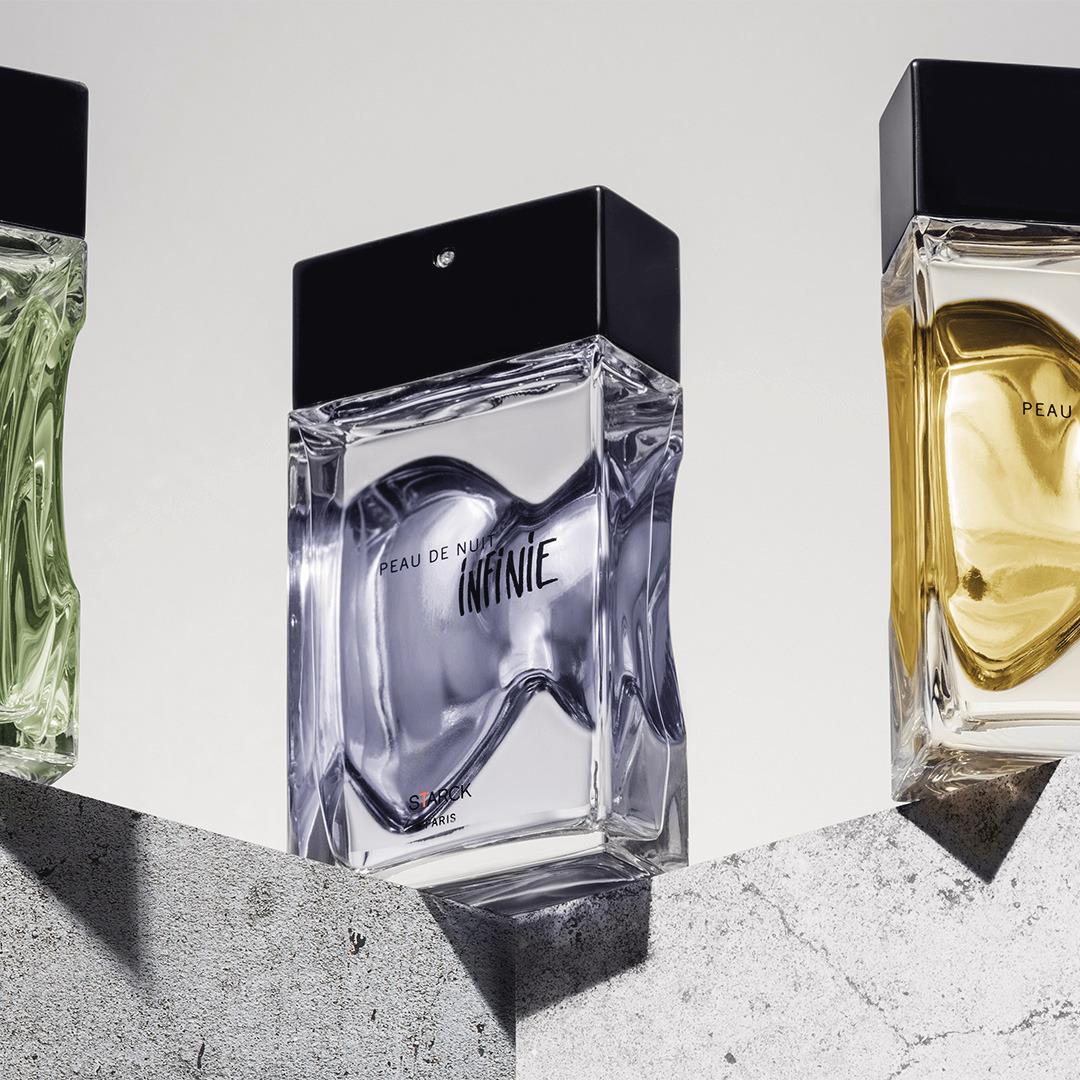The Starck Paris Peau perfume collection. Their creator, Phhilippe Starck tells an extraordinary story that transports us to another world. @starck #StarckParis #Starck #PhilippeStarck #PeauDeLumiere #Peau de Nuit #PeauDAilleurs